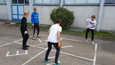 Arthur, Valdemar, William, Gustav - Personerne er cool fordi de har det sjovt med hinanden, mens de spiller basket:)