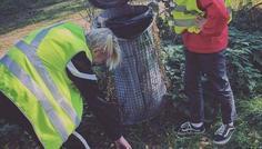 Rasmus, Oliver, Mathias L og Marius - Det er cool at samle skrald og være med til at redde miljøet.
